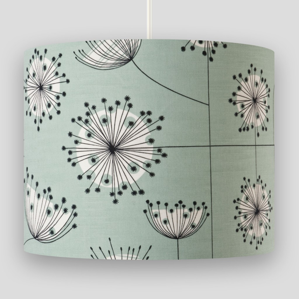 Dandelion Mobile Mist Green with White Lampshade