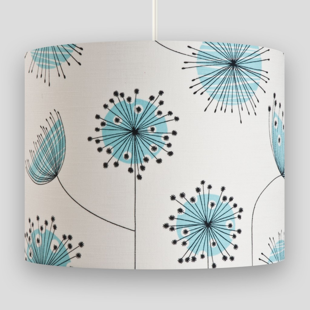 Dandelion Mobile Porcelain with Powder Blue Lampshade