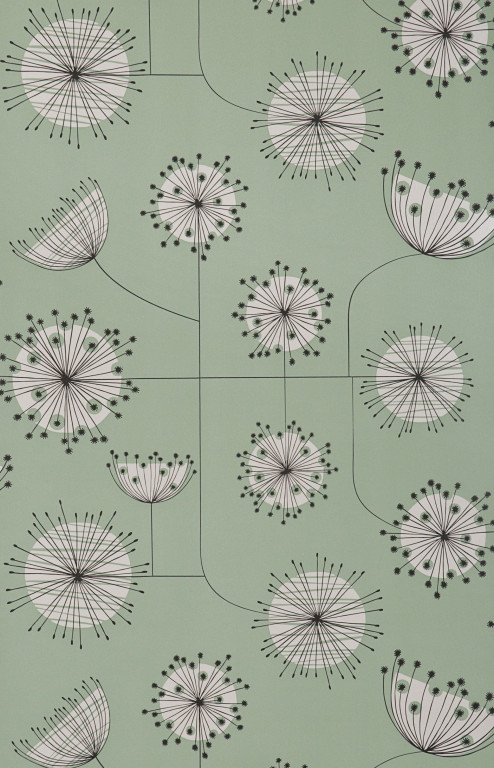 Dandelion Mobile Mist Green With White Wallpaper
