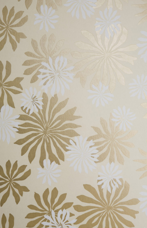 Fleur Cream With Gold Wallpaper