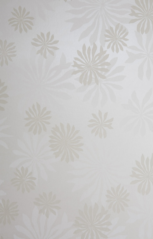 Fleur White With Stone Wallpaper