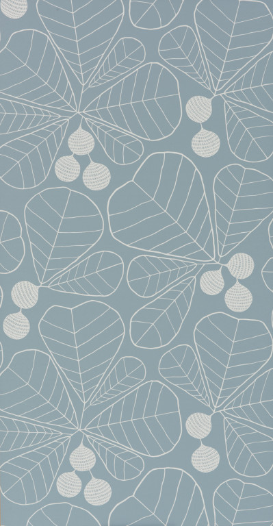 Great Leaf Prussian Wallpaper