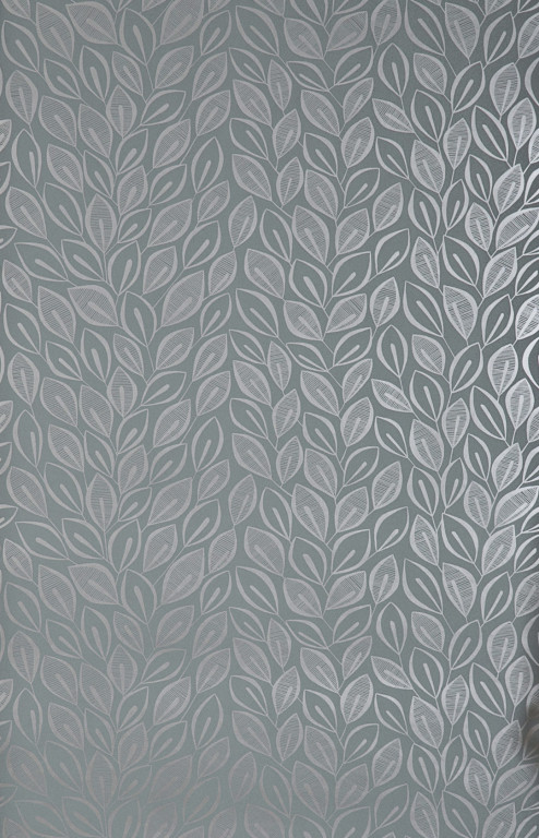 Leaves Graphite With Silver Wallpaper