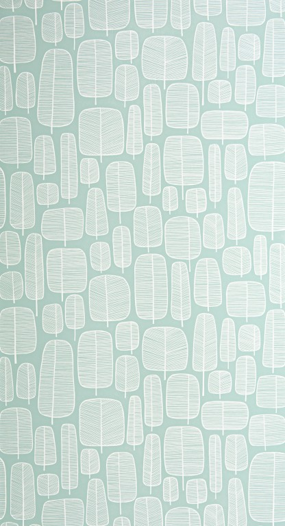 Little Trees Eggshell Blue Wallpaper
