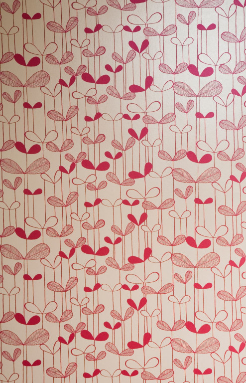 Saplings Cream With Pink Wallpaper