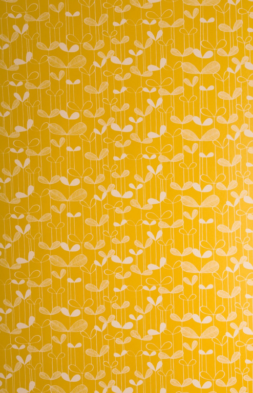 Saplings Sunflower Yellow With White Wallpaper