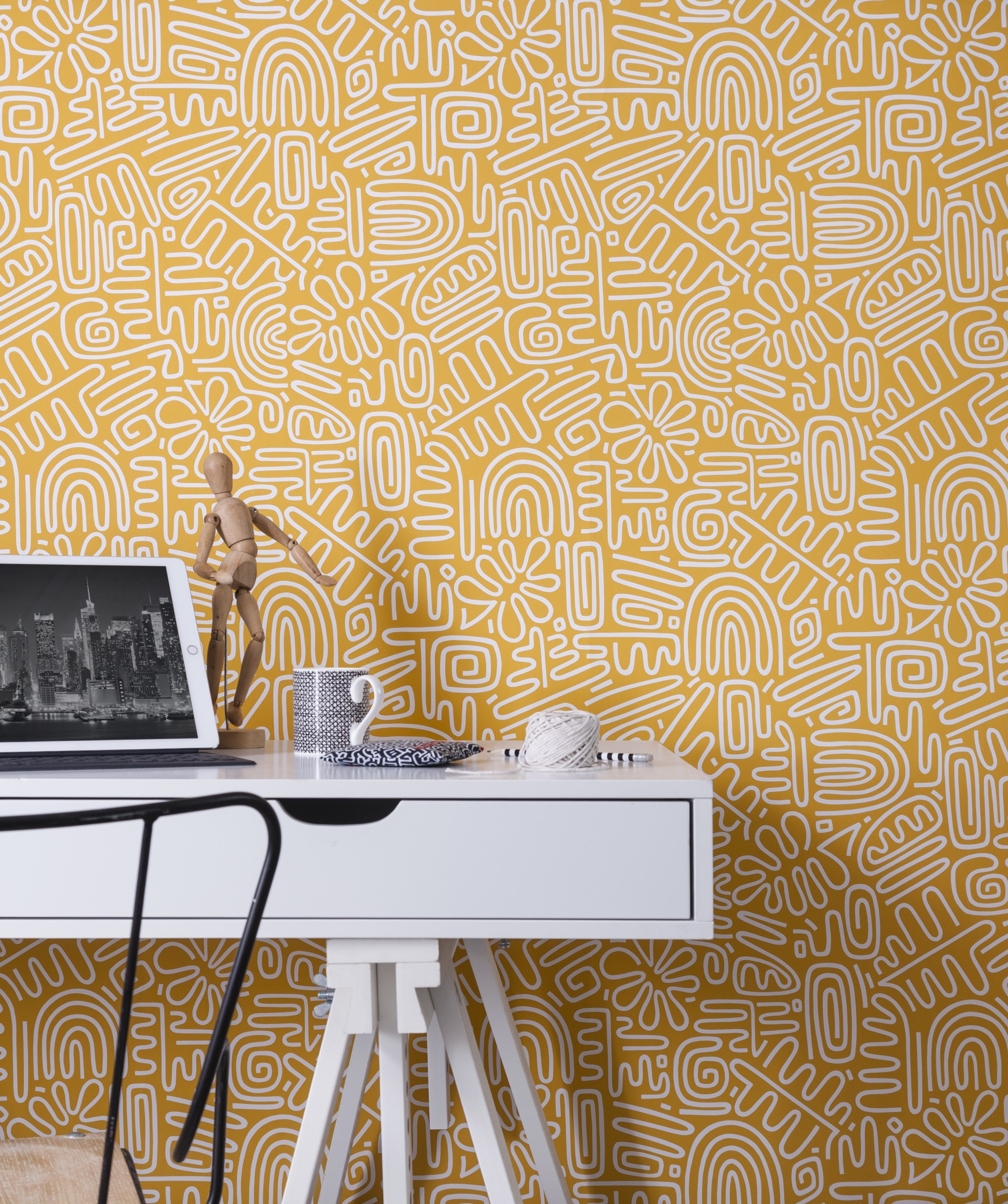 Patterned Yellow Wallpaper